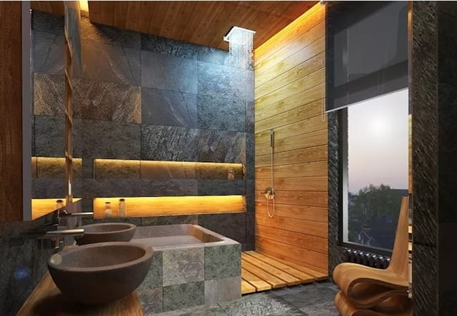 banheiro com pedra e madeira