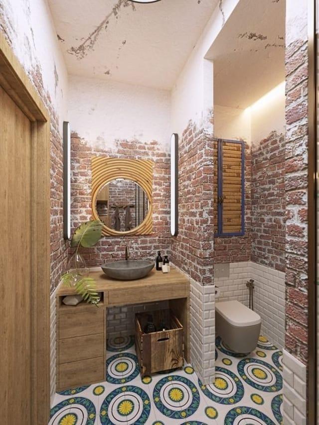 banheiro rústico e muito funcional