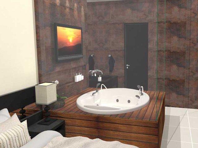 Banheira com deck de madeiraquarto com banheira