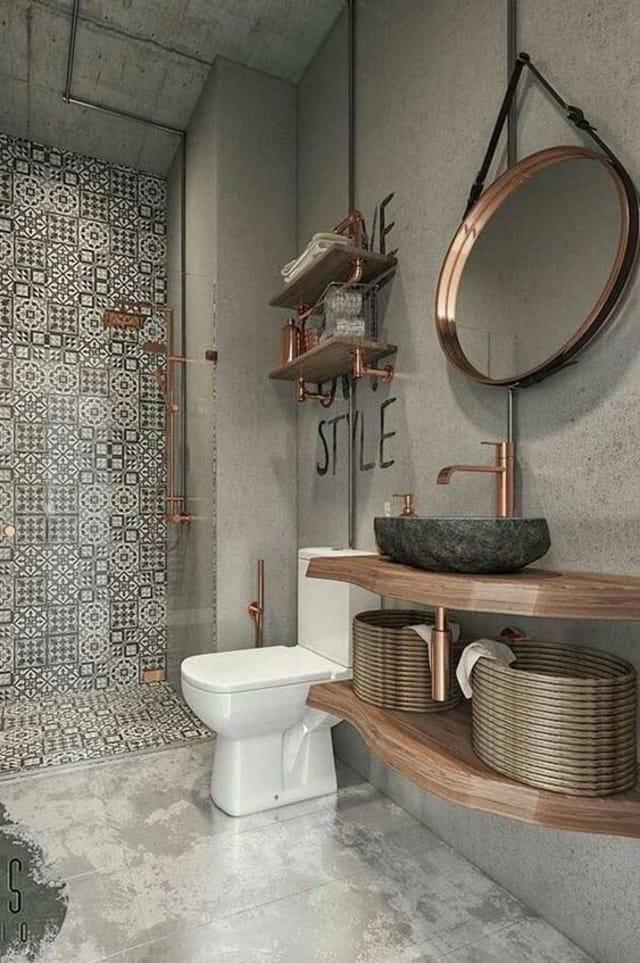banheiro com cimento queimado