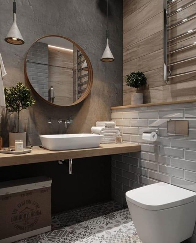 Banheiro rústico no estilo