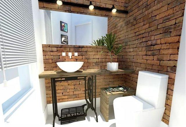 banheiro de tijolinhos