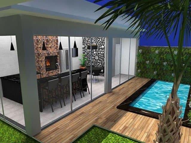 projeto ambiente externo com churrasqueira e piscina